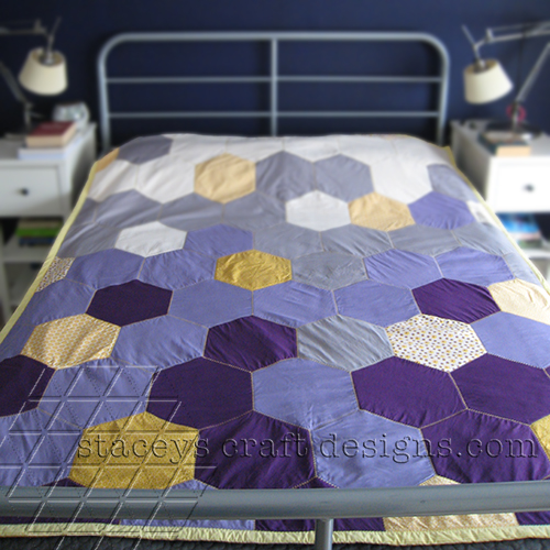 Big Hexagon Quilt in purple, grey and yellow cotton fabrics with decorative cross stitch by Stacey's Craft Designs [2]