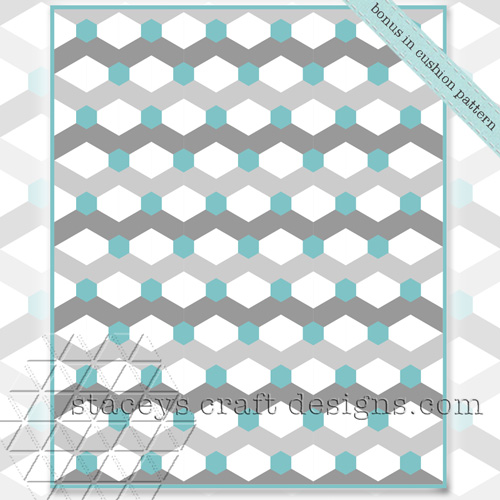 Hexagoned Chevron bonus quilt PDF pattern by Staceys Craft Designs