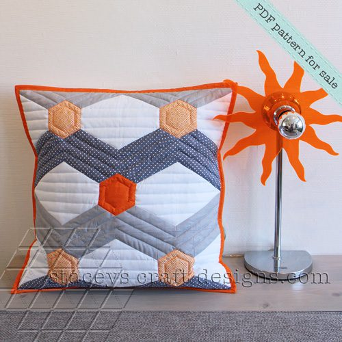 Hexagoned Chevron cushion PDF pattern by Staceys Craft Designs