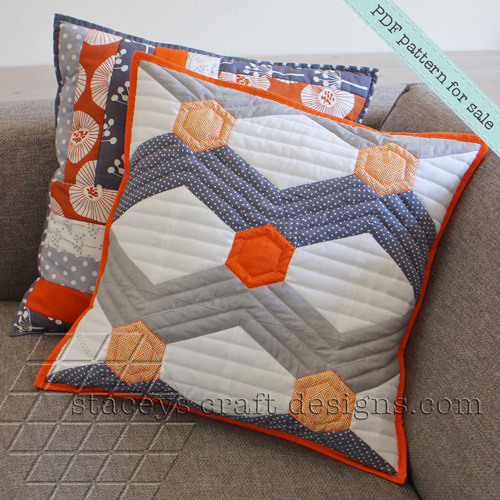 Hexagoned Chevron cushion and Strips and Stripes cushion PDF pattern by Staceys Craft Designs