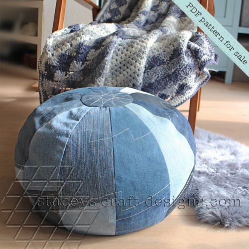 Jeans Pouf in Segments made with old trousers
