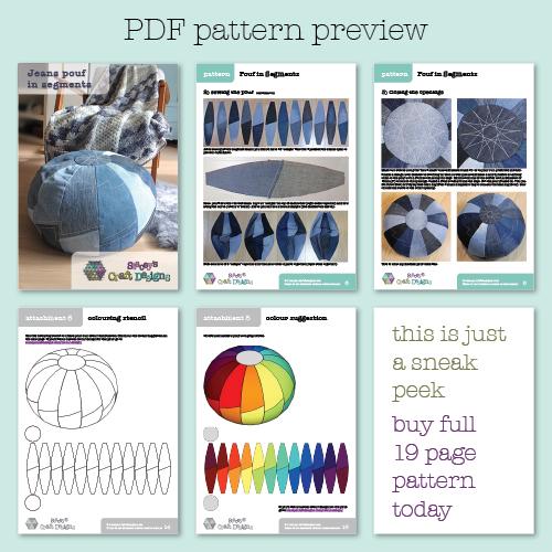 Jeans Pouf in Segments PDF pattern preview