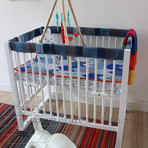 Jeans crib rail covers