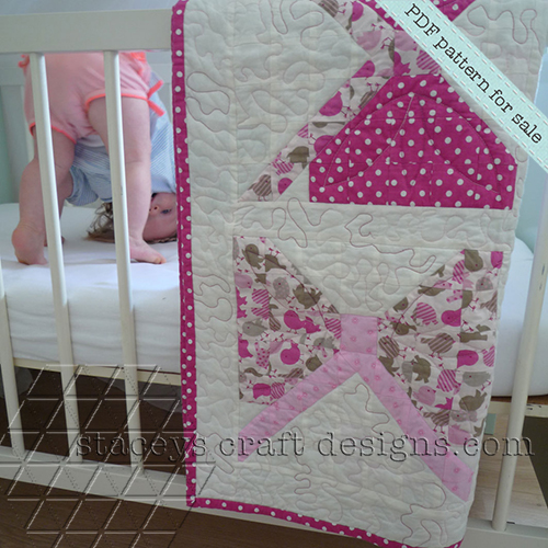 Lovely baby girl pink bows quilt PDF pattern by Stacey's Craft Designs [1]