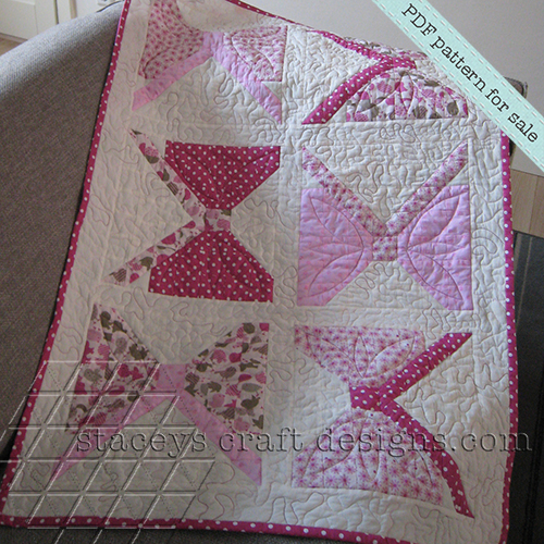 Lovely baby girl pink bows quilt PDF pattern by Stacey's Craft Designs [2]
