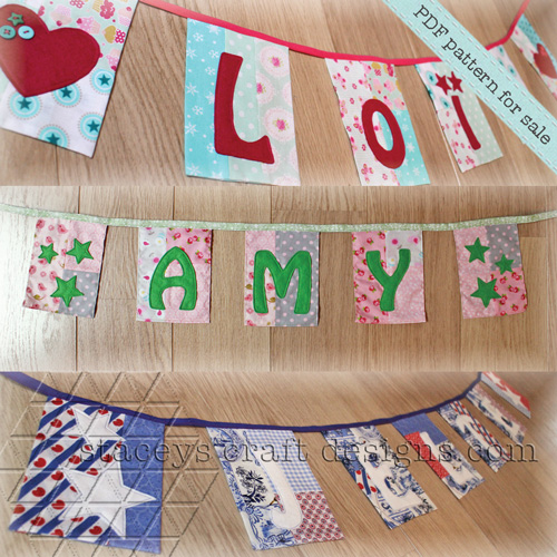More Patchwork name garlands