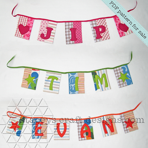 Patchwork Name Garland with felt appliqué by Stacey's Craft Designs [2]