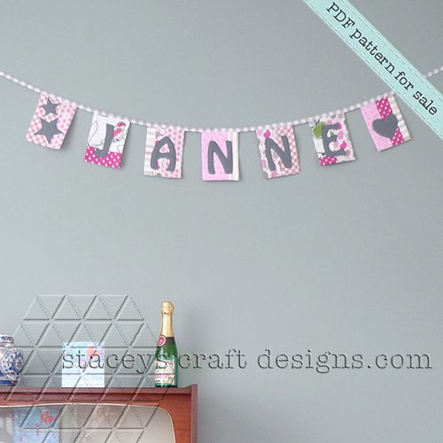 Patchwork Name Garland with felt appliqué by Stacey's Craft Designs