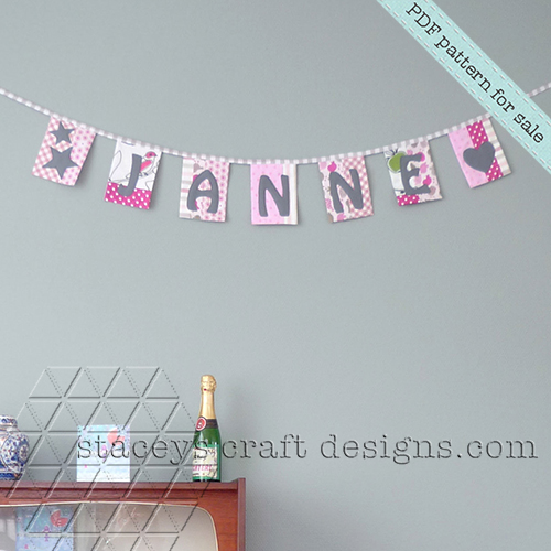 Patchwork name garland with felt appliqué