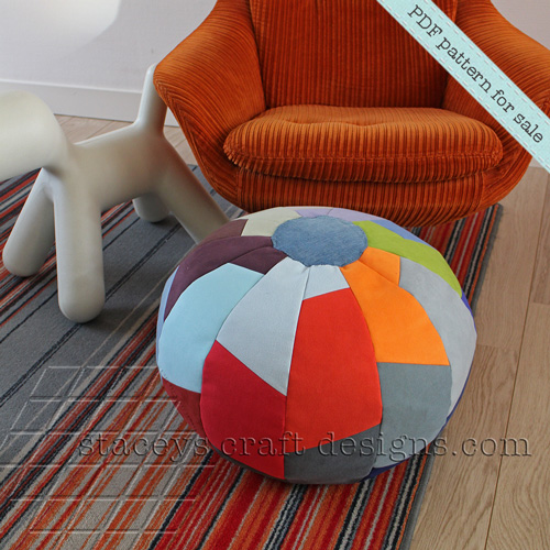 Pouf in Segments made with upholstery swatches