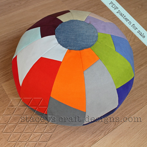 Pouf in segments made with upholstery swatches stacey 39 s craft designs - Design pouf ...