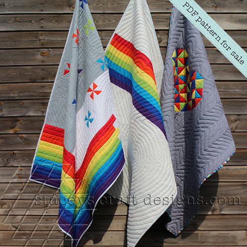 Three cheerful Rainbow Quilts