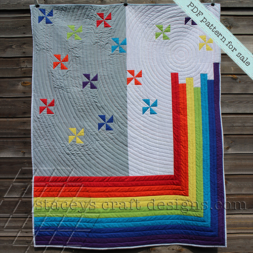 Rainbow Sparkles Quilt PDf pattern by Staceys Craft Designs