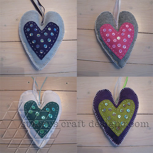 Felt hearts decorated with sequins