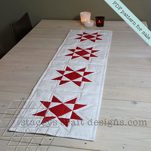 Star table runner PDF pattern by Staceys Craft Designs