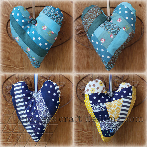 Decorative patchwork hearts