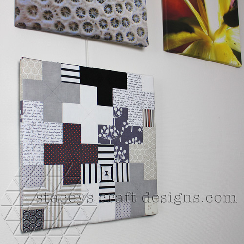 Canvas with english paper piecing plusses