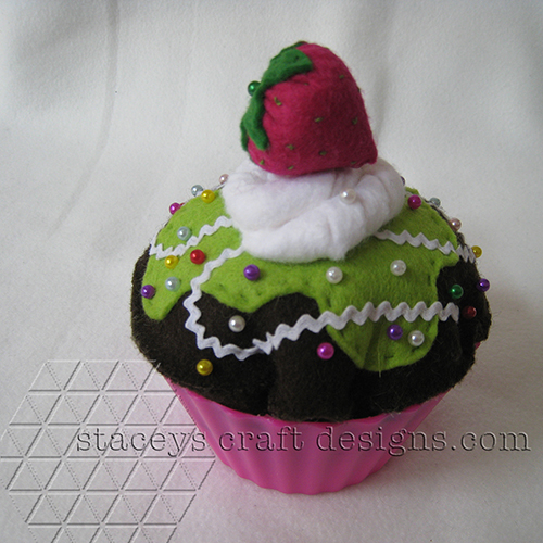 felt cupcake pincuchion with strawberry by Staceys Craft Designs Cupcake
