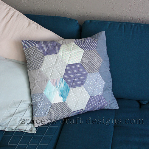 Great grey hexagon cushion