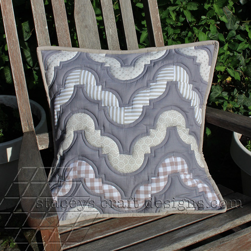 Another Drunkards Path cushion in a tranquil colour scheme