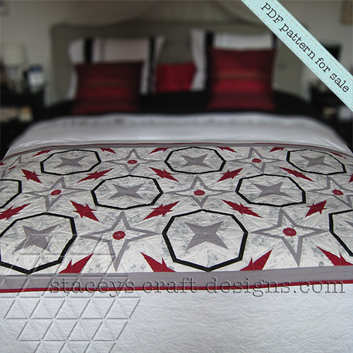 foundation paper piecing Starry Night Quilt in red, white, black, grey PDF Pattern by Stacey's Craft Designs [1]