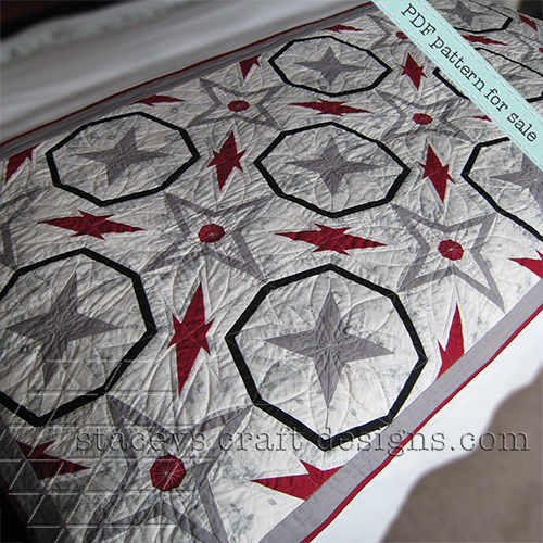 foundation paper piecing Starry Night Quilt in red, white, black, grey PDF Pattern by Stacey's Craft Designs [2]